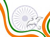 picture of ashok  - Vector illustration of Indian tricolor flag with flying pigeon and ashok wheel on white isolated background for Republic Day and Independence Day - JPG