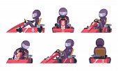 Karting Car. Street Speed Racers Competition Sport Automobile Go Kart Vector Background Cartoon. Ill poster