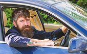 Minute To Relax. Businessman Tired After Hard Negotiations Smoking Vehicle. Man Bearded Businessman  poster