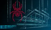 Smart House Iot Cybersecurity Spider Concept. Personal Data Safety Internet Of Things Cyber Attack.  poster