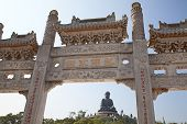 stock photo of budha  - Po Lin Monastery and Giant Buddha on Lantau island Hong Kong - JPG