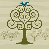 Bluebird Swirly Orchard