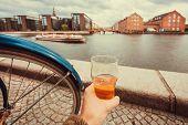Beer Glass Of Drinker And Cityscape, Water Channel, Old Buildings Of Copenhagen, Denmark. Danish Cap poster
