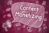 Content Monetizing - Cartoon Illustration On Red Chalkboard. poster