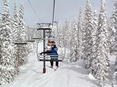 Riding The Chair Lift At Steamboat Springs Resort