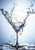 Water Splash Photography. Clear Wineglass With Burst Of Water Splashes In Motion Against White Backg poster