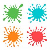 Set Of Four Multicolored Hand Drawn Paint Splashes With Small Splashes And Shadows. Vector Illustrat poster