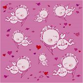 pink seamless background with cupids and hearts
