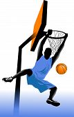 stock photo of slam  - player in basketball at the background of basketball rings  - JPG