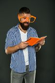 Self Education Concept. Literary Club. Reading Book As Hobby. Study Is Fun. Hipster Bearded Man Funn poster