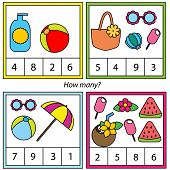 Counting Educational Children Game. How Many Objects Task. Summer Holidays Theme Activity For Toddle poster