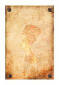 image of nefertiti  - Old grunge antique paper texture with queen Nefertiti pattern attached with nails on a white background - JPG