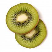 Two kiwi fruit slices isolated on white background closeup. Kiwifruit slices flatlay. Flat lay, top  poster