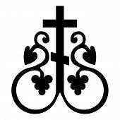Cross Vine Cross Monogram Symbol Secret Communion Sign Religious Cross Anchors Icon Black Color Vect poster