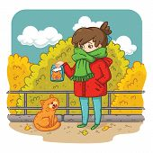 A Young Woman Is Planning To Feed A Stray Cat. Bright And Colorful Illustration For Kids, Advertisin poster