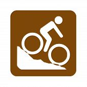Brown Mountain Biking Recreational Sign With A White Background poster