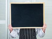 Check Out Cooking Tips. Chef Hold Blackboard Copy Space Hide Face Behind. Recipe Concept. Cooking De poster