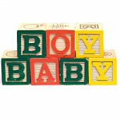 foto of baby-boy  - The words baby boy spelled in baby blocks isolated against a white background - JPG