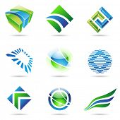 Various green and blue abstract icons isolated on a white background poster
