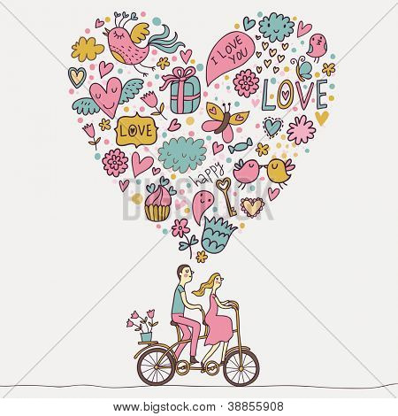 Picture or Photo of Romantic concept. Couple in love on tandem bicycle. Cute cartoon vector illustration