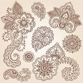 Henna Flowers and Paisley Mehndi Tattoo Doodles Set- Abstract Floral Vector Illustration Design Elem