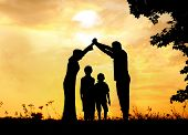 stock photo of muslim kids  - Muslim family home together - JPG
