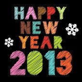 Scribbled Happy New Year 2013 poster in vintage colors, raster version