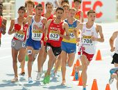 BARCELONA - JULY, 13:Competitors of 3000m steeplechase event during the 20th World Junior Athletics