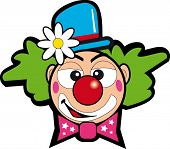 clown with flower. Drawing of a face clown for a sticker