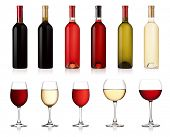 Set of white, rose, and red wine bottles and glas. isolated on white background