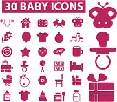 30 baby icons set, vector