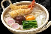 steaming nabeyaki udon, japanese hot pot noodles