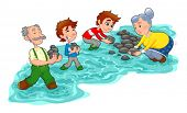 Family is making a little dam with stones.  Vector and cartoon illustration.