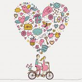 foto of tandem bicycle  - Romantic concept - JPG