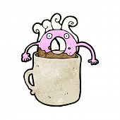 doughnut cartoon character in hot cup of coffee
