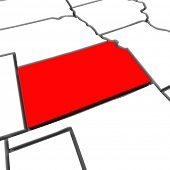 A red abstract state map of Kansas a 3D render symbolizing targeting the state to find its outlines and borders
