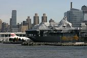 NEW YORK - NOV 1: The Space Shuttle Enterprise lays on the USS Intrepid on November 1, 2012 in New York City. Foam from the tail fin is reportedly missing after Hurricane Sandy hit the area on October 29, 2012.