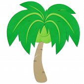 Rice Paper Cut Coconut Tree