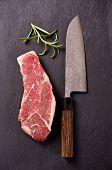 beef steak with santoku knife