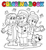 Coloring book carol singing theme 1 - vector illustration.