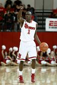NEW YORK-NOV 3: St. John's Red Storm center Chris Obekpa (12) shoots over Sonoma State Seawolves gua