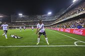 VALENCIA - NOVEMBER 3: Valdez celebrates a goal during Spanish Cup match between Valencia CF and AT