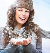 pic of windy weather  - Christmas Girl - JPG