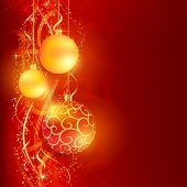 Border with red and golden Christmas balls hanging over a red, golden wavy pattern with stars and snow flakes on a dark red background. Bright, vivid and festive for the Christmas season to come.