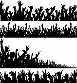 image of person silhouette  - Set of editable vector foregrounds of crowds - JPG
