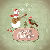 stock photo of christmas song  - Vintage Greeting Christmas card - JPG