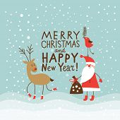 stock photo of letters to santa claus  - Greeting Christmas and New Year card - JPG