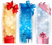 Holiday banners with colorful bows and gift boxes. Vector illustration