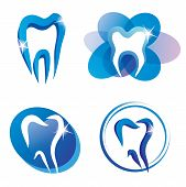 Set Of Tooth Stylized Icons