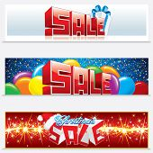 Christmas Sale. Vector Set of Festive Web Banners.